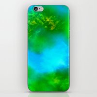 Cosmic Clouds In Green and Blue iPhone & iPod Skin