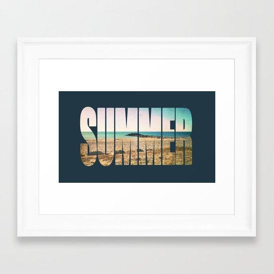Summer - Frontignan beach in southern france - seascape Framed Art Print