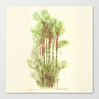 Palmier Rouge - Red Palmtree Canvas Print