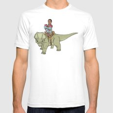 A Boy and his Dinosaur Mens Fitted Tee White SMALL