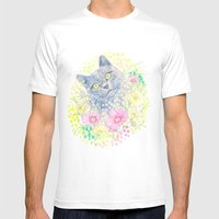 Dreamy Chartreux Cat Mens Fitted Tee White SMALL