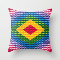 Rainbow Geometry Throw Pillow