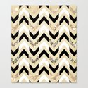 Black, White & Gold Glitter Herringbone Chevron on Nude Cream Canvas Print