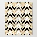 Black, White & Gold Glitter Herringbone Chevron on Nude Cream Canvas Print