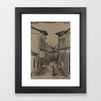 Old Village Alley Framed Art Print