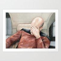 Picard Facepalm Meme Art Print
