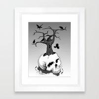 Skull And Tree Framed Art Print