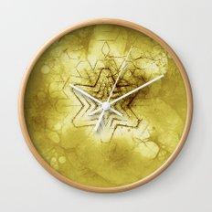 Star mandala in gold Wall Clock