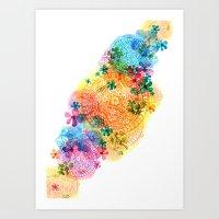 Rainbow Mandala Cloud Art Print
