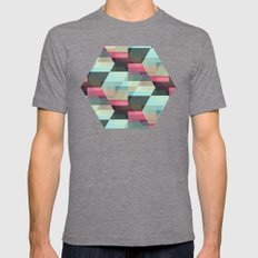 Hexagon Mens Fitted Tee Tri-Grey SMALL