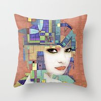 Nouveau Girl 2 (aged finish) Throw Pillow
