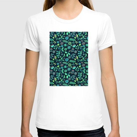 Neon Nature Doodles on Dark Denim T-shirt
