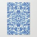 Pattern in Denim Blues on White Canvas Print