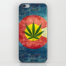 Retro Colorado State flag with the leaf - Marijuana leaf that is! iPhone & iPod Skin