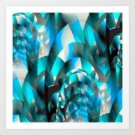 Fractal Waves (turquoise… Art Print