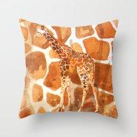Camouflage giraffe, animal skin, safari art, giraffe, giraffe art, cute animal art, nursery animals Throw Pillow