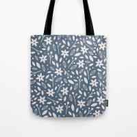 Winter Bloom - in Navy Tote Bag