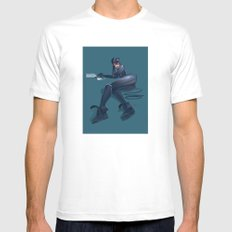 CATWOMAN White Mens Fitted Tee SMALL