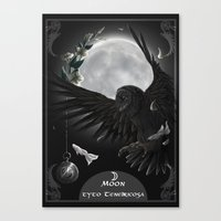 solar owls moon  Canvas Print
