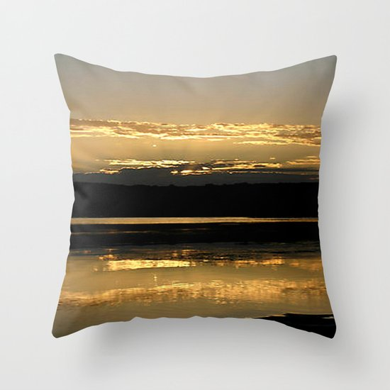 Sunsetting on a golden Pond Throw Pillow