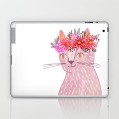 Cat with Floral Crown Laptop & iPad Skin