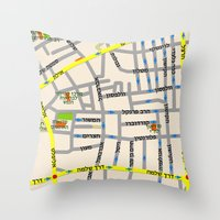 Tel Aviv Map Design - Fl… Throw Pillow