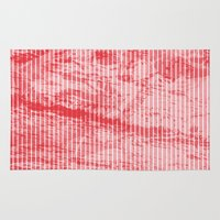 Grunge red and white stripes texture Rug