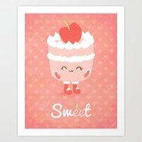 Sweet Cherry Cake Art Print