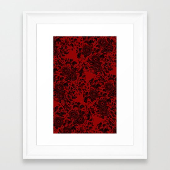 Chrysanthemum II Black on Red Framed Art Print