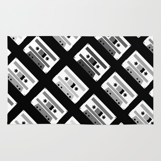Black and White Tapes 45 Area & Throw Rug