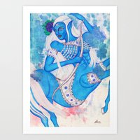 Sagittarius, The Lucky Traveler: Nov 22 - Dec 21 / Original Gouache On Paper Art Print
