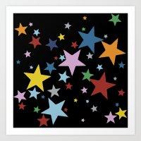 Multi Stars Black Art Print
