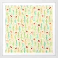 Foxes hiding in the forest Art Print