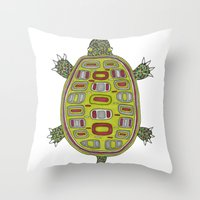Tiled turtle Throw Pillow