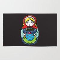 16bit Matrioska Black Background Rug