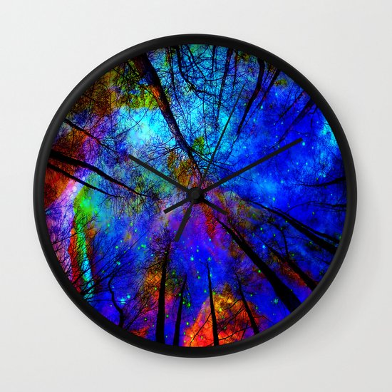 colorful forest wall clock by haroulita society6