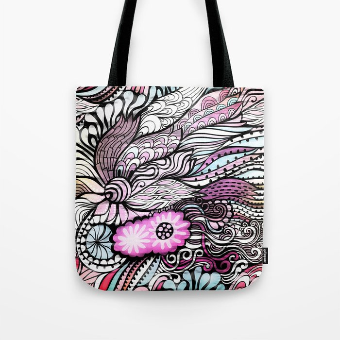Crosia Flower Designs Bags : Abstract Floral Design Tote Bag by Samantha Lynn Society6