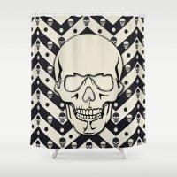 Hipster Chevron Skull Shower Curtain