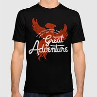 Great Adventure Mens Fitted Tee Black SMALL