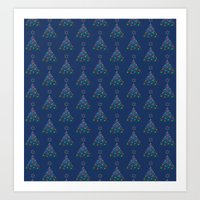 Christmas Trees Pattern Art Print