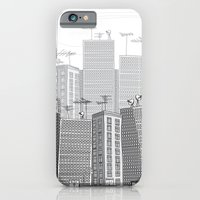 iPhone & iPod Case featuring Illustration  - Busy Cartoon City Filled With People And Cars by diane555