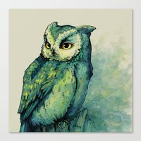 Canvas Print featuring Green Owl by Teagan White