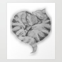 Cuddling Cats Art Print