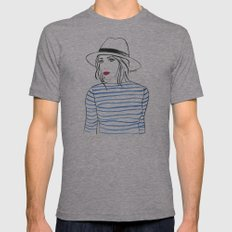 Stripes & Red Lips Mens Fitted Tee Athletic Grey SMALL