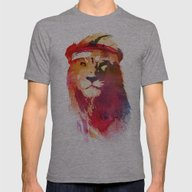 Gym Lion Mens Fitted Tee Athletic Grey SMALL