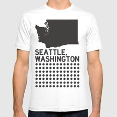 SEATTLE WASHINGTON White Mens Fitted Tee SMALL