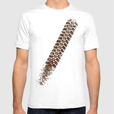 Mountain bike tyre marks SMALL Mens Fitted Tee White