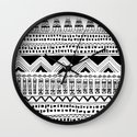 aztec tribal: black and white Wall Clock