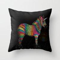 Cosmic Rainbow Zebra Throw Pillow