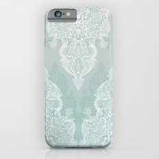 Lace & Shadows - soft sage grey & white Moroccan doodle iPhone 6 Slim Case